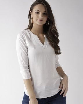 Marc Loire Top with Notched Neckline