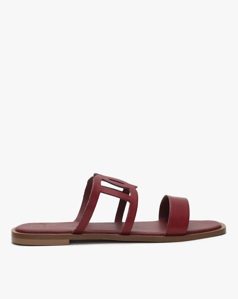 Buy Maroon Flat Sandals for Women by