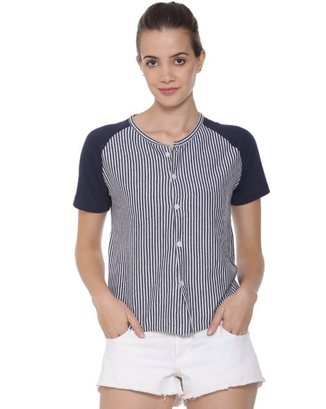Campus Sutra Striped Top with Raglan Sleeves