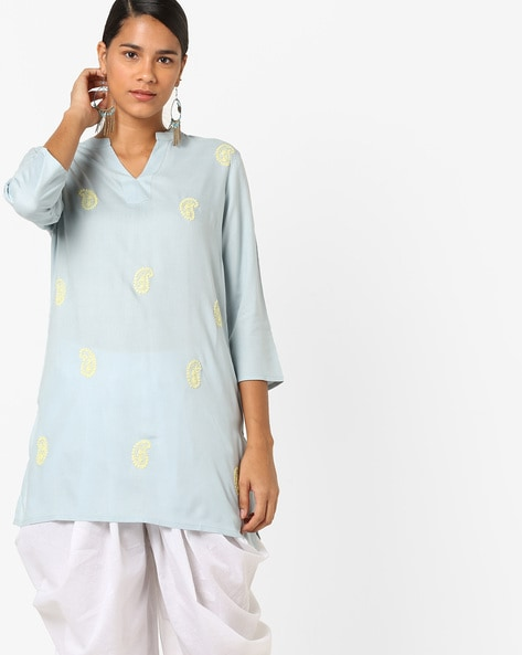 Embroidered Tunic With Mandarin Collar By AJIO ( Blue )