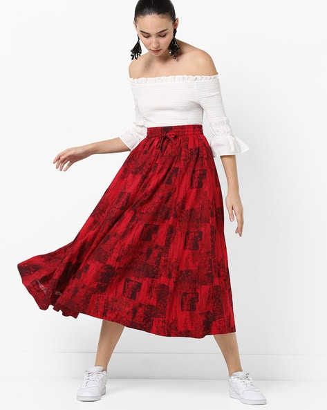 Pleated Midi Skirt With Drawstring By Project Eve IW Casual ( Red )