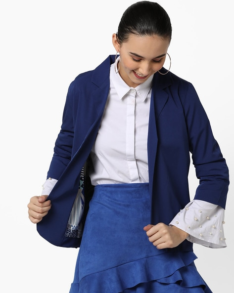 Open-Front Blazer With Notched Lapel By AJIO ( Blue )
