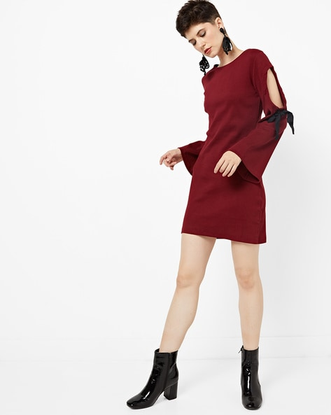 Sheath Dress With Cut-Out Sleeves By AJIO ( Burgundy )