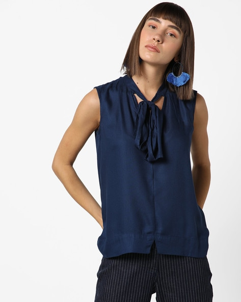 Sleeveless Top With Tie-Up Neckline By AJIO ( Navy )