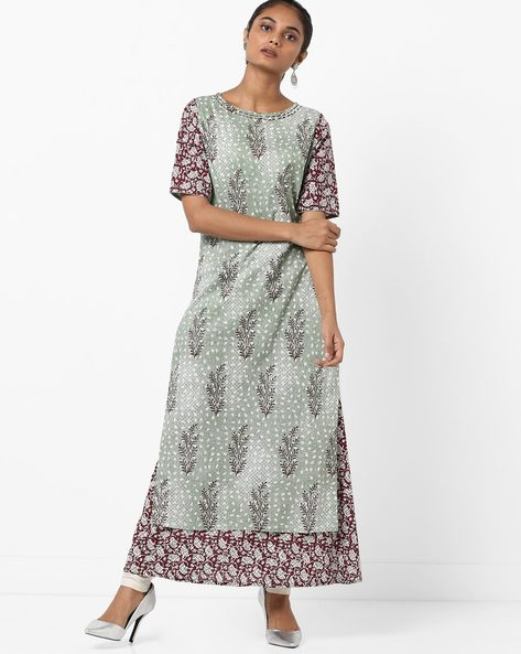 Printed Layered Straight Kurta With Embroidery By Jaipur Kurti ( Green )