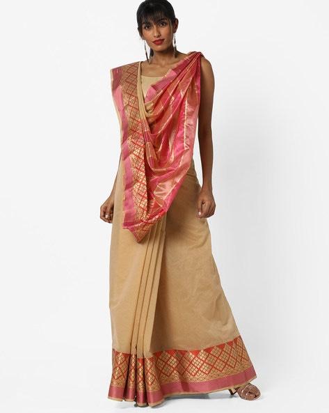 Bhagalpuri Cotton Silk Saree With Contrast Border & Pallu By CHHABRA 555 ( Beige )