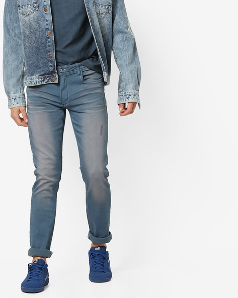 Mid-Wash Slim Fit Jeans With Whiskers By RexStraut JEANS ( Blue )