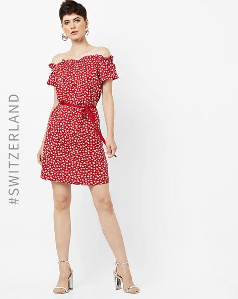 Off-Shoulder Floral Print Dress By TALLY WEiJL ( Red )