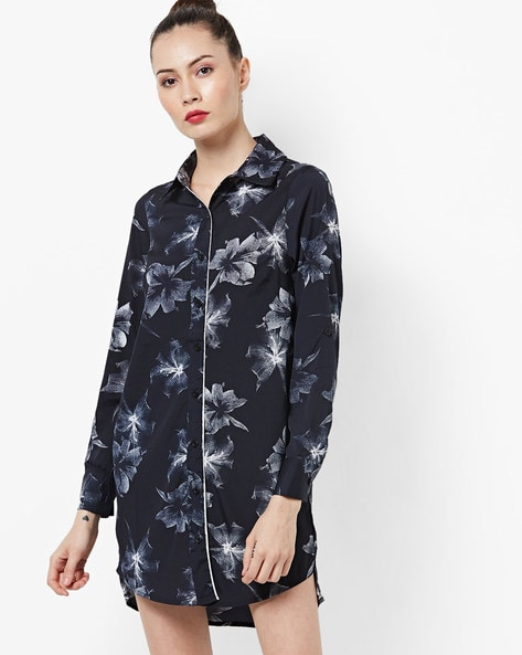 Floral Print Shirt Dress By Oxolloxo ( Navy )