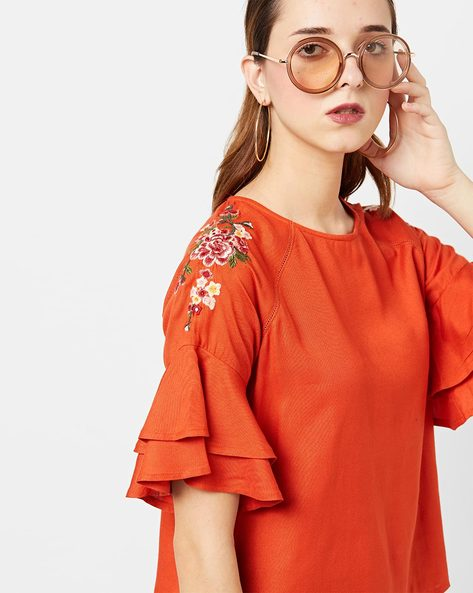 Top With Floral Embroidered Sleeves By AJIO ( Amber )