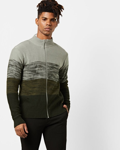 Colourblock Zip-Front Pullover By AJIO ( Olive )