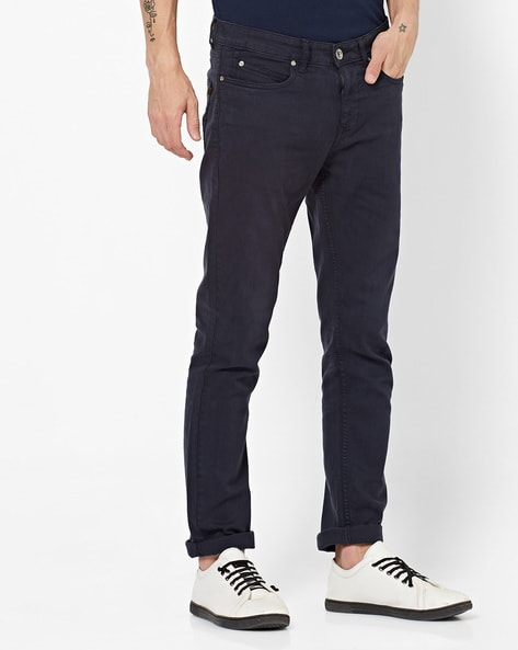 Mid-Rise Slim Fit Pants By Pepe Jeans ( Navy )
