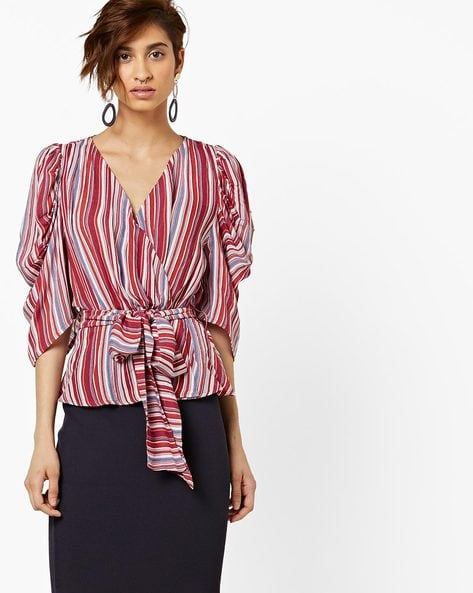 Striped Peplum Top With Belt By AJIO ( Red )