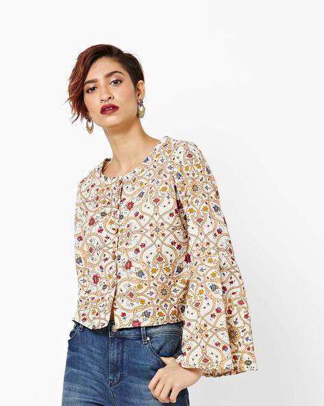 Floral Print Blouse With Bell Sleeves By AJIO ( Offwhite )