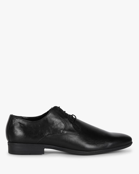 Genuine Leather N9-Treated Derby Formal Shoes By AJIO ( Black )