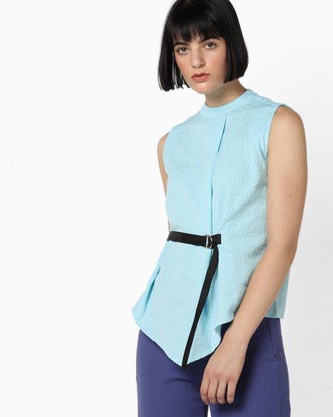 Sleeveless Jacquard Top With Attached Belt By AJIO ( Blue )