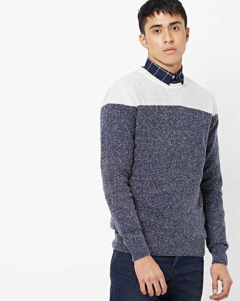 Colourblock Crew-Neck Pullover By AJIO ( Blue ) - 460186343001