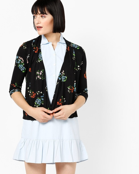 Open-Front Floral Print Shrug By CODE By Lifestyle ( Black )