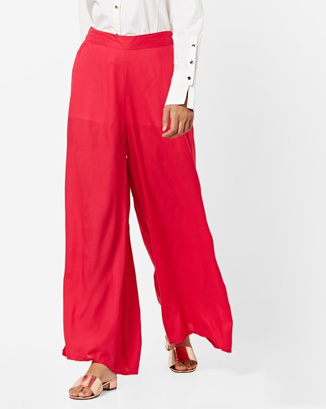 Mid-Rise Palazzos With Semi-Elasticated Waist By Melange By Lifestyle ( Fuchsia )
