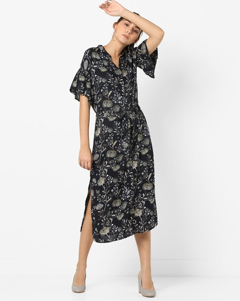 Floral Print Shirt Dress With Side Slits By Vero Moda ( Nightsky )