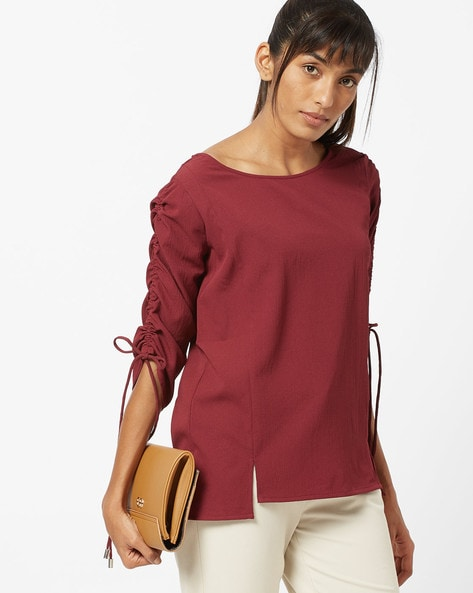 Round Neck Top With Ruched Sleeves by Fig