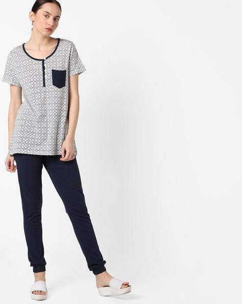 ef58fd2932 Brands White   Navy Blue Knitted Top   Pyjama Printed Top with Pyjamas