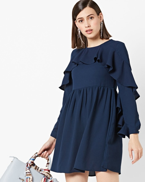 Panelled Ruffled Skater Dress By AJIO ( Teal )