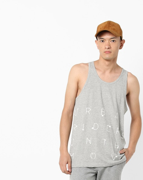 Printed Slim Fit Sleeveless T-shirt By Lee ( Gray )