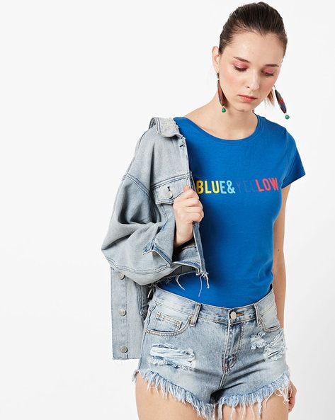 Typographic Print Round-Neck T-shirt By Only ( Blue )