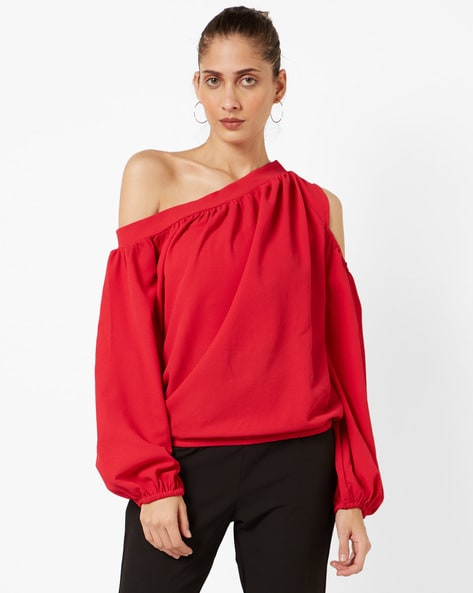 Cold-Shoulder Blouson Top By AJIO ( Pink )