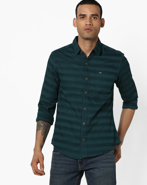 Striped Shirt With Patch Pocket By The Indian Garage Co ( Teal )