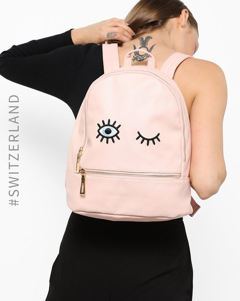 Embroidered Backpack With Zip Closure By TALLY WEiJL ( Pink )