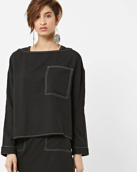 Drop-Shoulder Top With Contrast Top Stitch By AJIO ( Black )