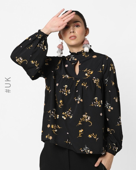 Floral Print Top With Balloon Sleeves By INFLUENCE ( Black )