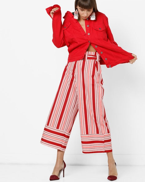Striped Culottes With Fabric Belt By AJIO ( Red )