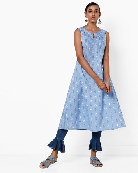 Sleeveless Printed A-line Kurta By AJIO ( Blue )