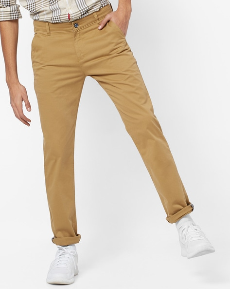 Mid-Rise Slim Fit Flat-Front Trousers By CRIMSOUNE CLUB ( Khaki )