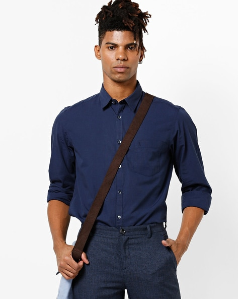 Slim Fit Cotton Shirt With Spread Collar By INDIAN TERRAIN ( Navy )