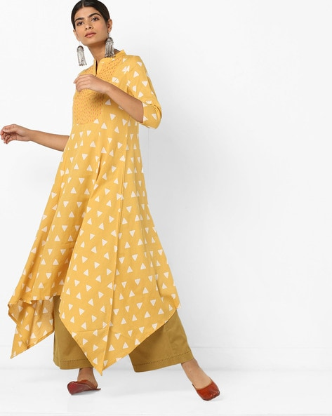 Geometric Print Kurta With Embroidered Yoke By AJIO ( Mustard )