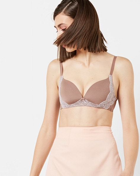 Lightly-Padded Bra With Lace Overlay By TRIUMPH ( Ltbrown )