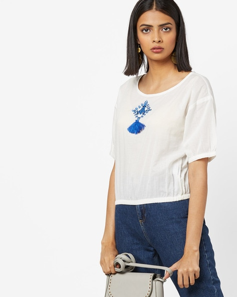 Top With Embroidery & Elbow Sleeves By AJIO ( Offwhite )