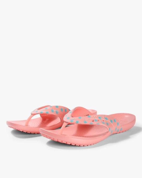 ef1d7100456d CROCS Pink Thong Printed Thong-Strap Flip-Flops