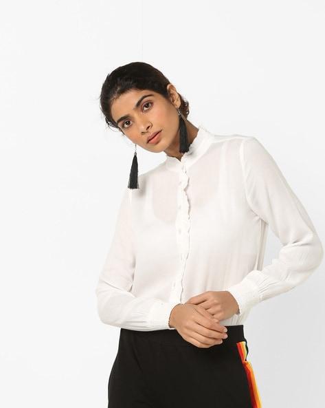 Textured Shirt With Ruffle Panels By Vero Moda ( White )