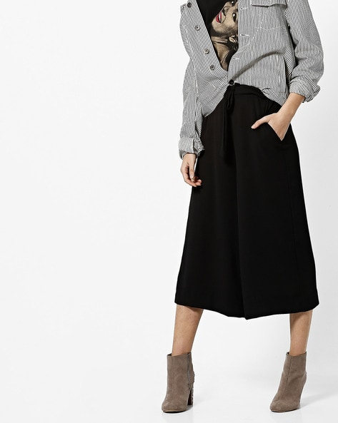 Flat-Front Culottes With Waist Tie-Up By CODE By Lifestyle ( Black )