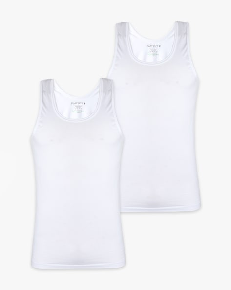Pack Of 2 Cotton Sleeveless Vests By Playboy ( White )