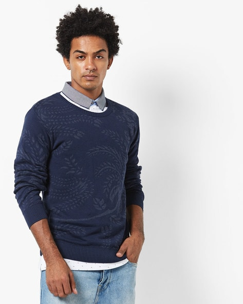 Floral Print Crew-Neck Pullover By NETPLAY ( Navy )
