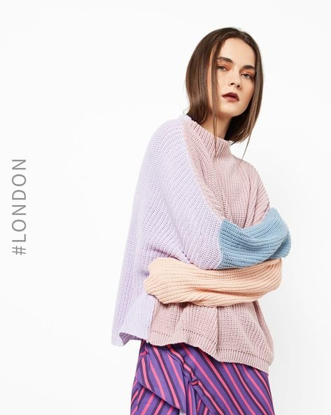 Colourblock High-Neck Pullover By Glamorous ( Lilac )