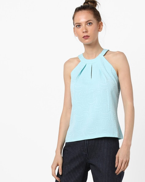 Textured Halter-Neck Top With Pleats By AJIO ( Blue )