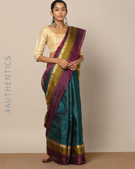 Pure Silk Woven Saree With Zari Border By Rudrakaashe-MSU ( Darkgreen )
