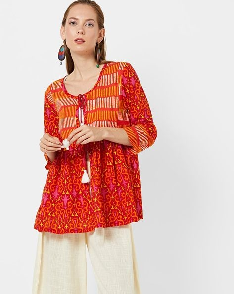 Printed Flared Jacket With Tie-Up By AJIO ( Orange )
